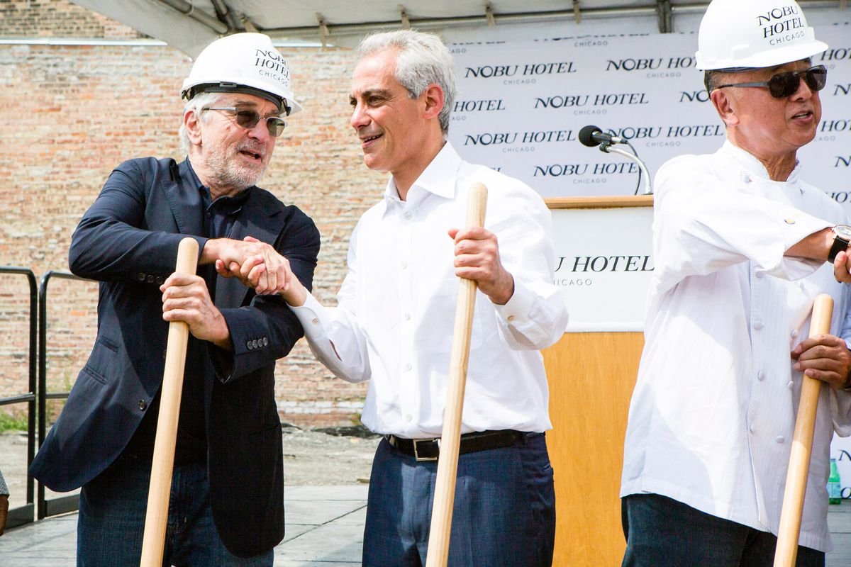 Actor Robert De Niro, far left, shakes hands with Mayor Rahm Emanuel at the ground breaking ceremony for Nobu Hotel Chicago on June 20, 2016. | James Foster/Sun-Times file photo