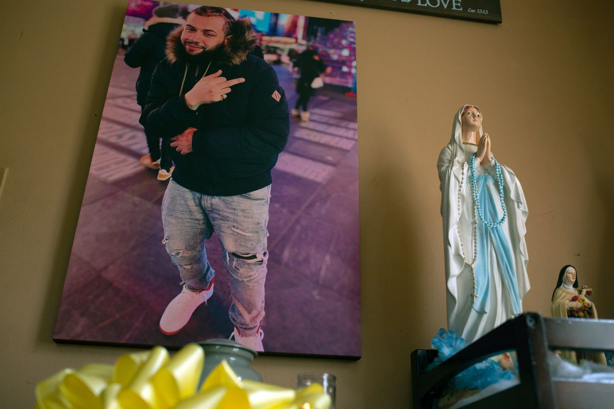 Tamara Carter created a memorial in her Cortland Manor home for her son, Brandon Rodriguez, after he was found dead in a Rikers Island cell, Sept. 26, 2021.