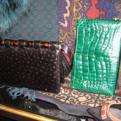 Tom Ford tortoise should flap bag in ostrich, $9,950<br />Tom Ford crocodile frame clutch, $9,900