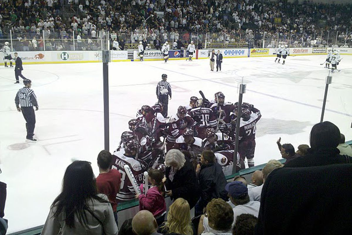 """Bears@Stars Celebrating Game 5 WIN 6-11-2010 - picture by <a href=""""http://www.sbnation.com/users/Icebat"""" target=""""new"""">Icebat</a>"""