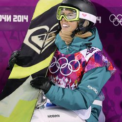 Australia's Torah Bright reacts after her run during the women's snowboard halfpipe final at the Rosa Khutor Extreme Park at the 2014 Winter Olympics, Wednesday, Feb. 12, 2014, in Krasnaya Polyana, Russia. (AP Photo/Sergei Grits)