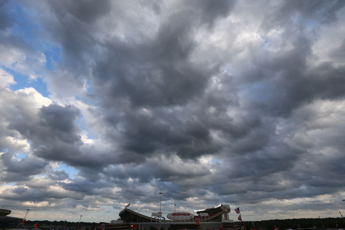 The sky is over cast over Arrowhead Stadium before a game between the Kansas City Chiefs and the Denver Broncos at Arrowhead Stadium on September 17, 2015 in Kansas City, Missouri.