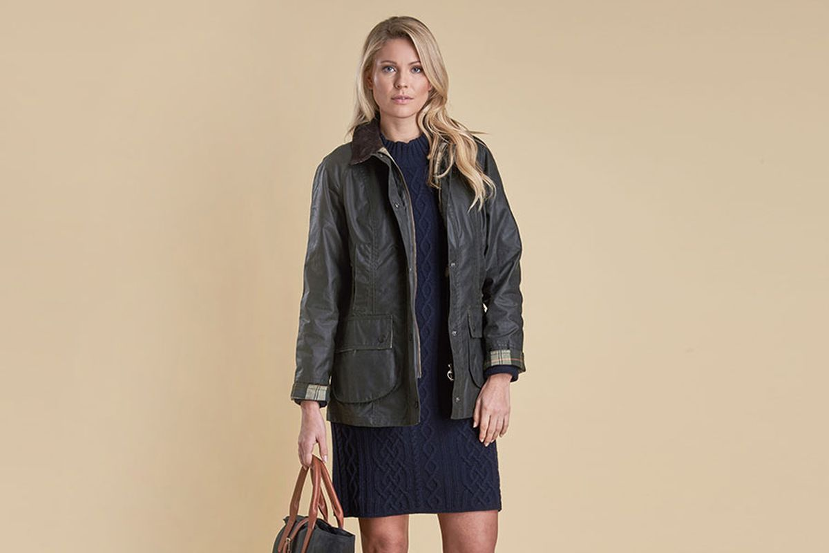 A model wearing a Barbour Beadnell Waxed Jacket