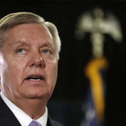 Republican presidential candidate, Sen. Lindsey Graham, R-S.C., speaks Wednesday, June 3, 2015, in Manchester, N.H. Graham is one of at least six Republican contenders for the White House who will be in Utah through Saturday to meet with a select group of former presidential candidate Mitt Romney's top contributors at an upscale ski resort.