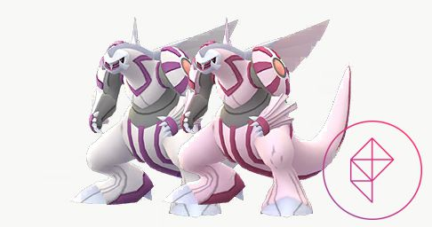 Shiny Palkia with its normal version. On Shiny Palkia, the grey parts of it are a light pink instead.