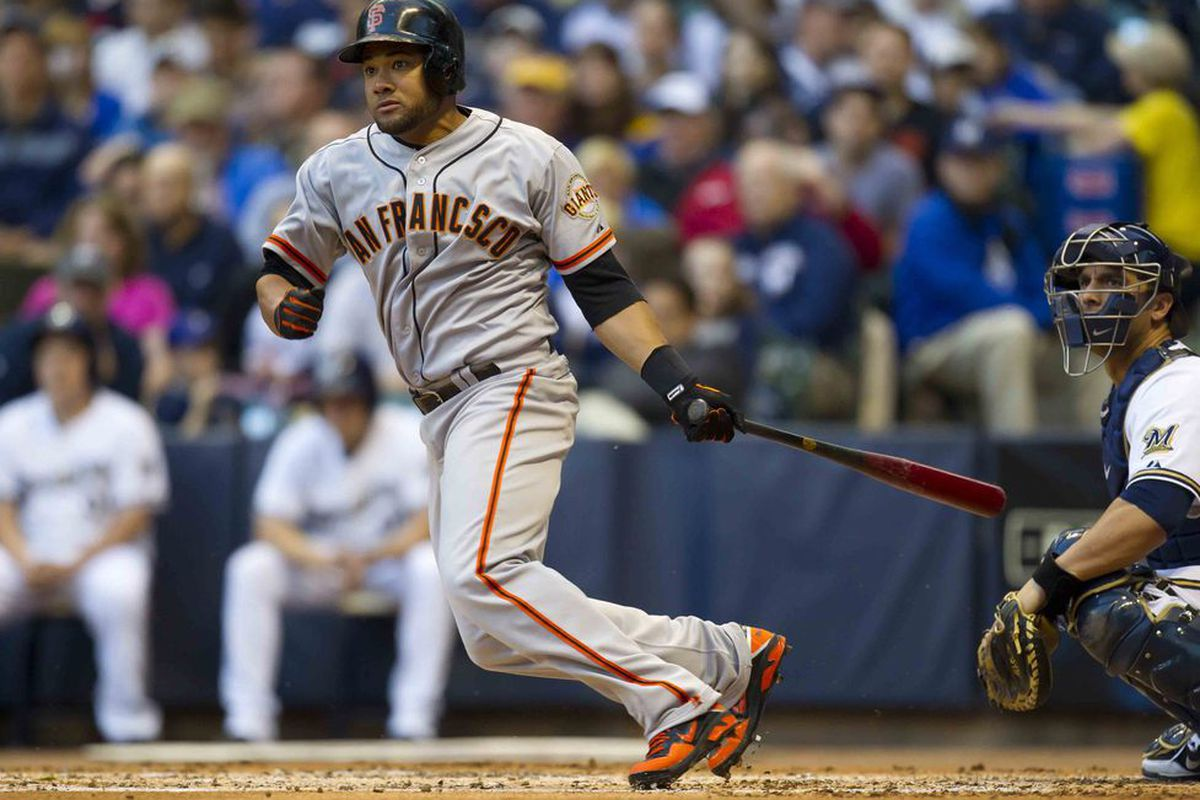 May 21, 2012: Milwaukee, WI, USA;  San Francisco Giants left fielder Melky Cabrera (53) bats during the game against the Milwaukee Brewers at Miller Park.  The Giants defeated the Brewers 4-3.  Mandatory Credit: Jeff Hanisch-US PRESSWIRE