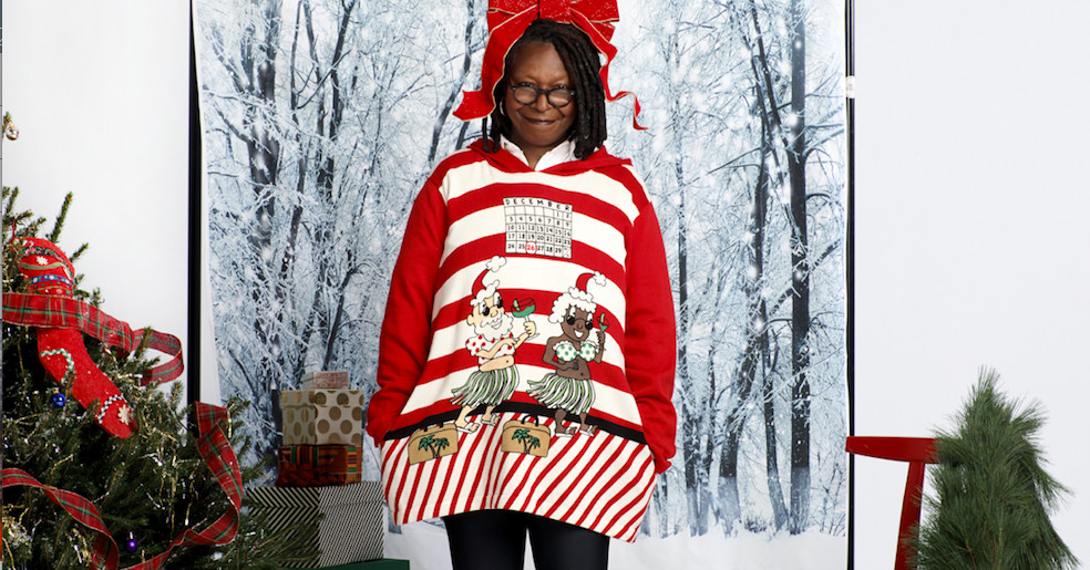 whoopi goldberg u2019s new sweaters feature black santas and