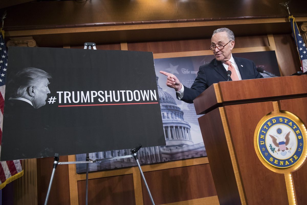 Senate Minority Leader Charles Schumer (D-NY) holds a news conference in the Capitol as Congress works on a solution to end the government shutdown