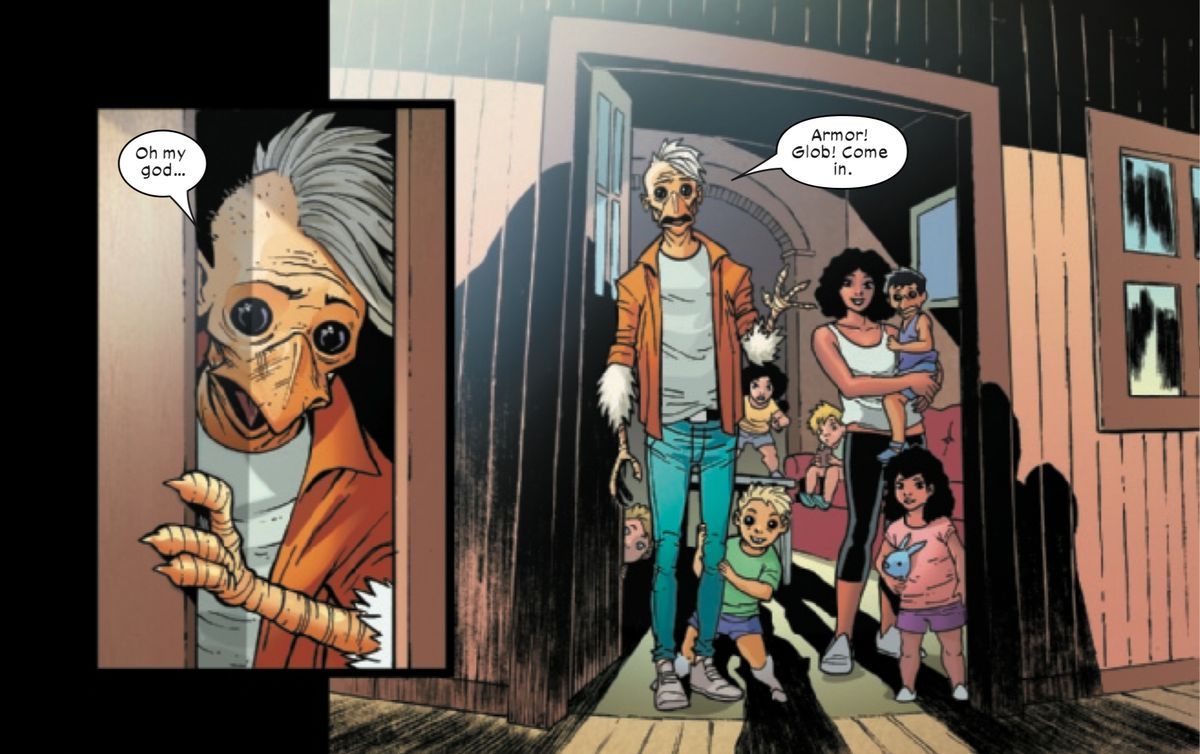 Beak, a mutant with scraggly feathers, chicken hands, huge black eyes and a beak, opens the door, revealing his family with Angel Salvadore, in New Mutants #3, Marvel Comics (2019).
