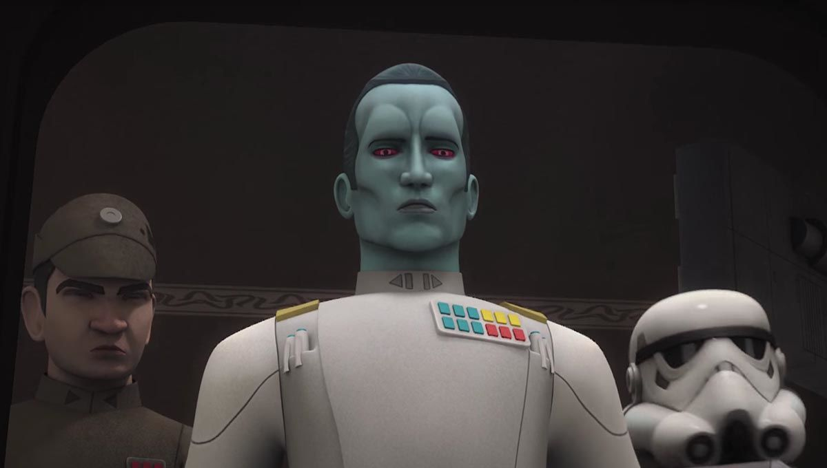 Thrawn in Star Wars: Rebels standing in front of an Imperial officer and stormtrooper