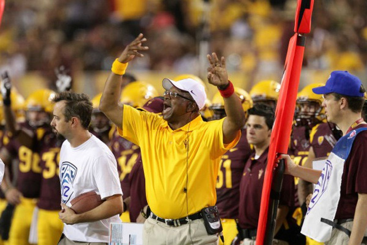 Paul Randolph calls out signals during the win over NAU (Photo: ASU)