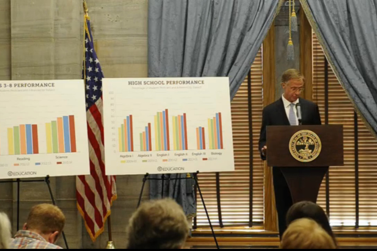 Gov. Bill Haslam announces the release of state TCAP scores.