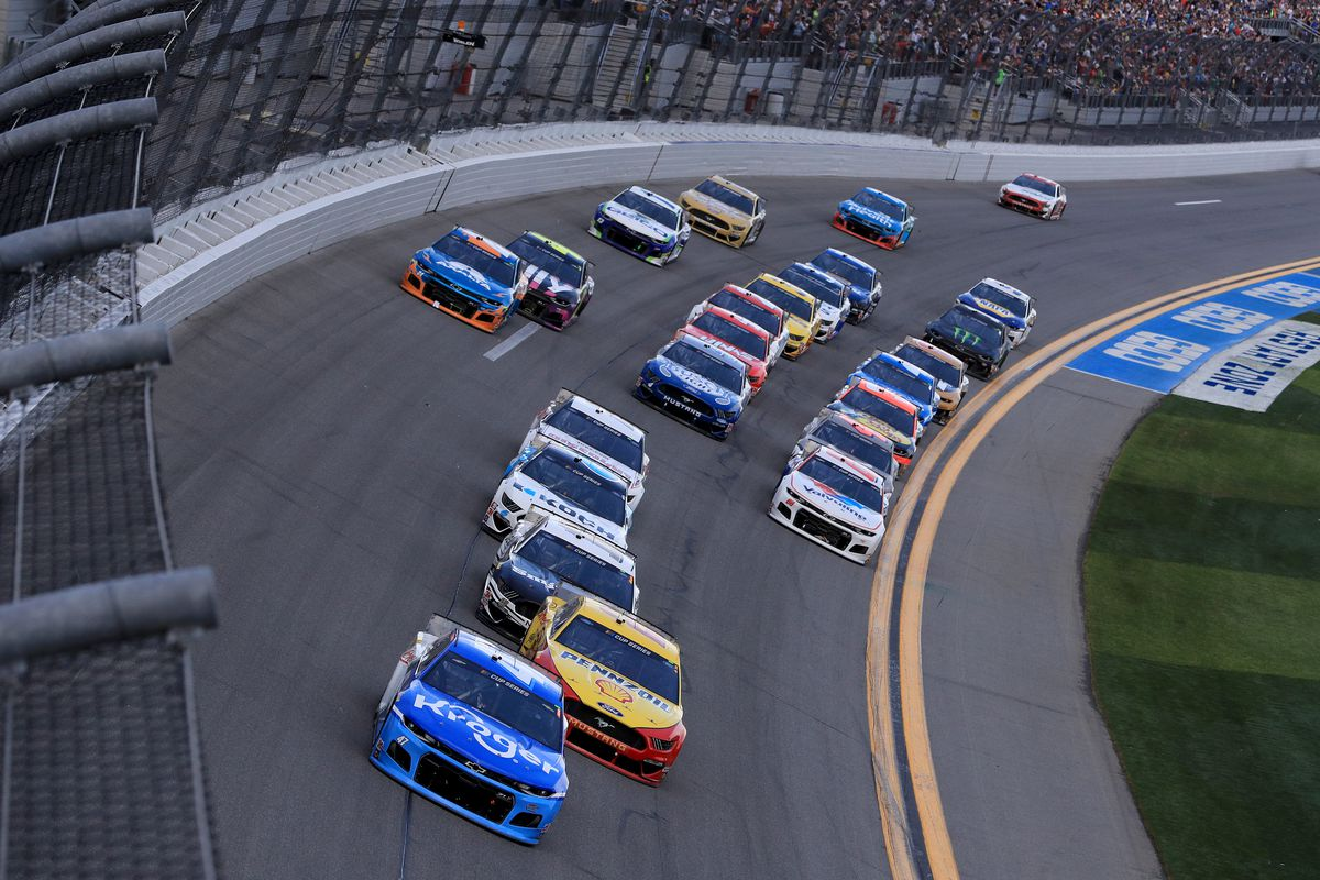 Ricky Stenhouse Jr., driver of the #47 Kroger Chevrolet, leads a pack of cars during the NASCAR Cup Series 62nd Annual Daytona 500 at Daytona International Speedway on February 16, 2020 in Daytona Beach, Florida.