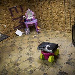 A destruction room sits ready to be destroyed at Tantrums in Houston on Saturday, July 15, 2017. Tantrums is a business where people can let off steam by using bats, poles, golf clubs and sledge hammers to destroy TVs, mirrors, cups, sheets of glass and more. The owner, Shawn Baker, started Tantrums after she was laid off from her job in the oil industry, and she said her business acts as therapy to some and fun for others.