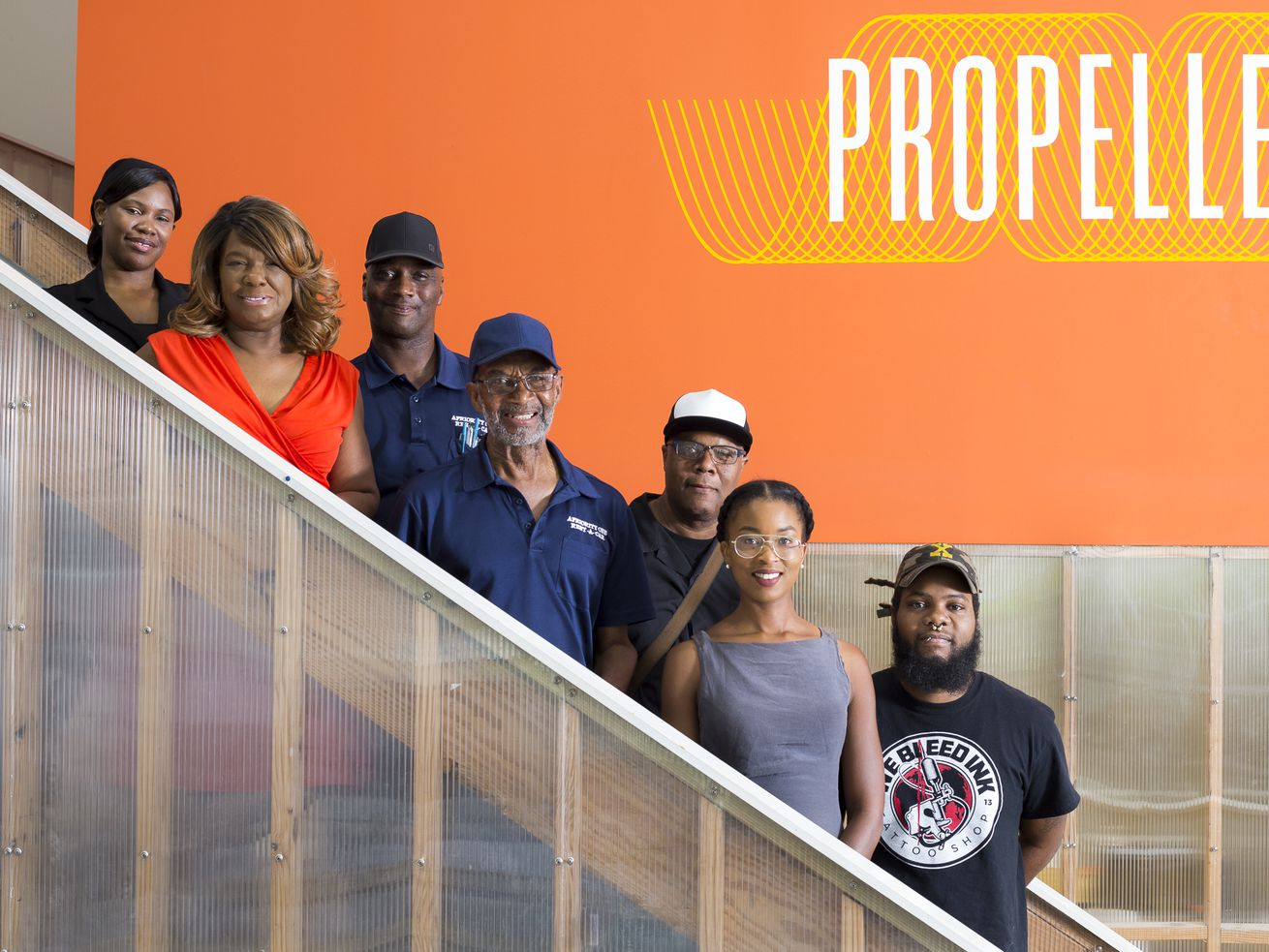 Left to right: Ty Davis, Beverly D. Smith, James Washington Jr., James Washington Sr., Donald Smith, Tara Simmons, and Trevone Sanson are entrepreneurs building businesses on South Broad Street.