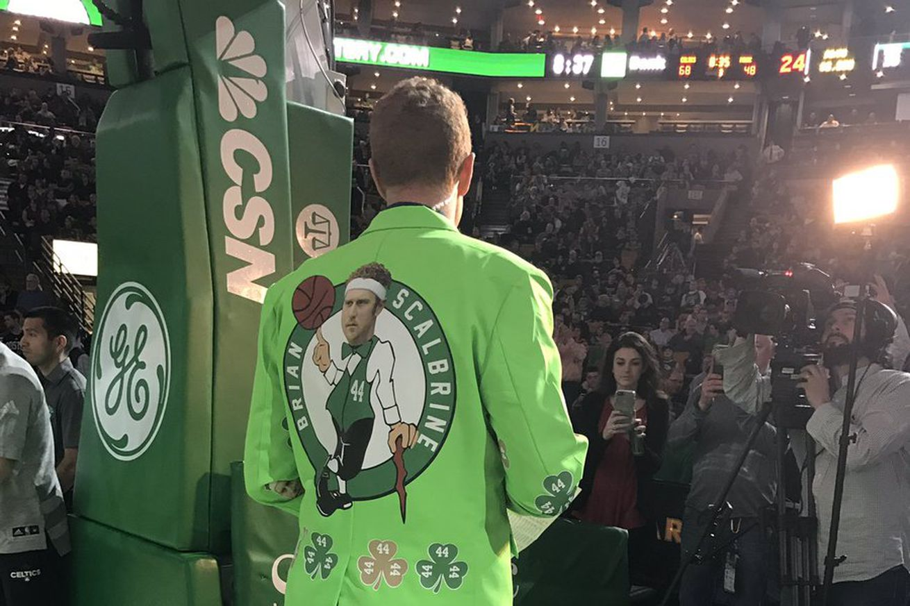 Brian Scalabrine is at the Celtics game wearing an atrocious lime green  jacket with his face NBA Boston Celtics 44 Tyler Zeller White Basketball  Jersey Heat ... a0c6fe110