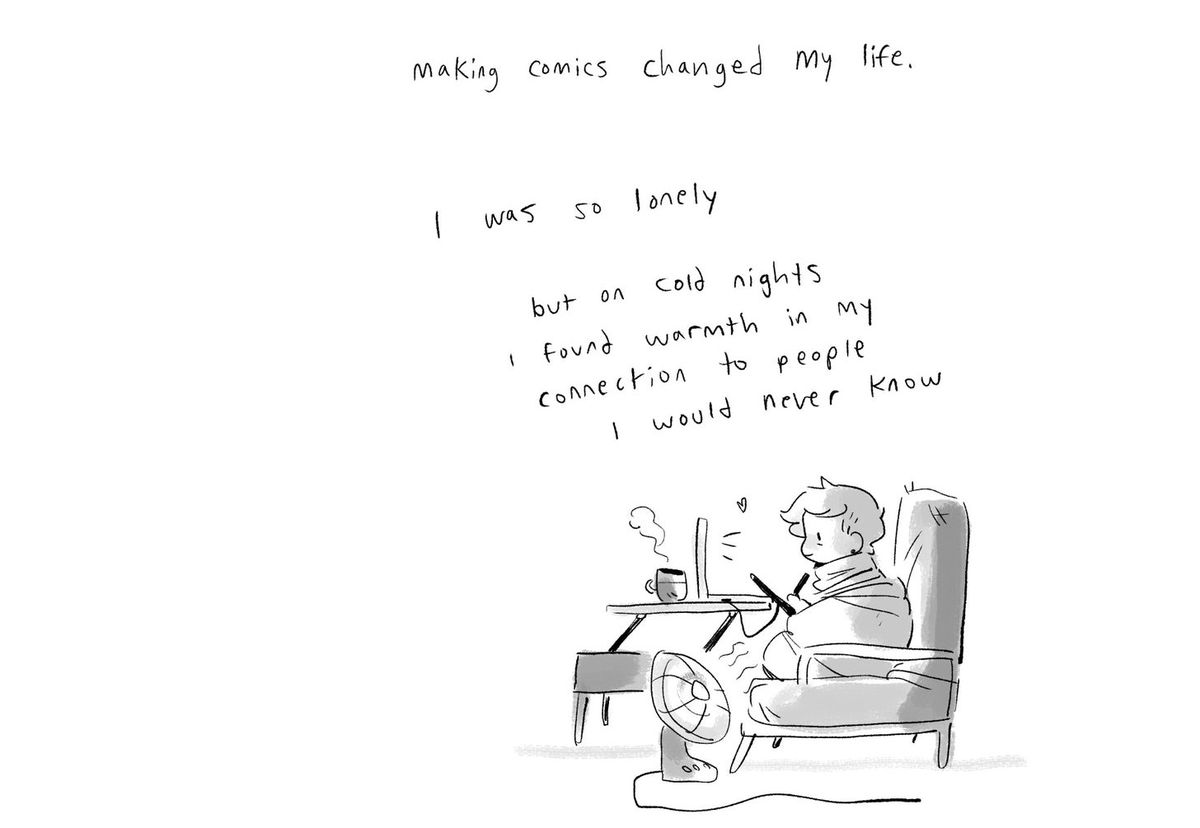 """A comics panel of Noelle swaddled in a blanket with a fan blowing on her, sitting in front of a laptop. Caption: """"Making comics changed my life. I was so lonely but on cold nights I found warmth in my connection to people I would never know."""" From the Substack I'm Fine I'm Fine Just Understand."""