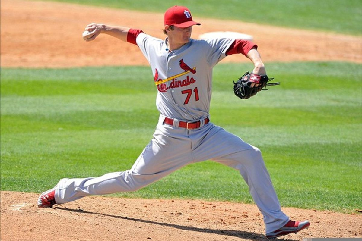 March 12, 2012; Melbourne, FL, USA;   St. Louis Cardinals starting pitcher Shelby Miller (71) throws a pitch during spring training game against the Washington Nationals at Space Coast Stadium. Mandatory Credit: Brad Barr-US PRESSWIRE