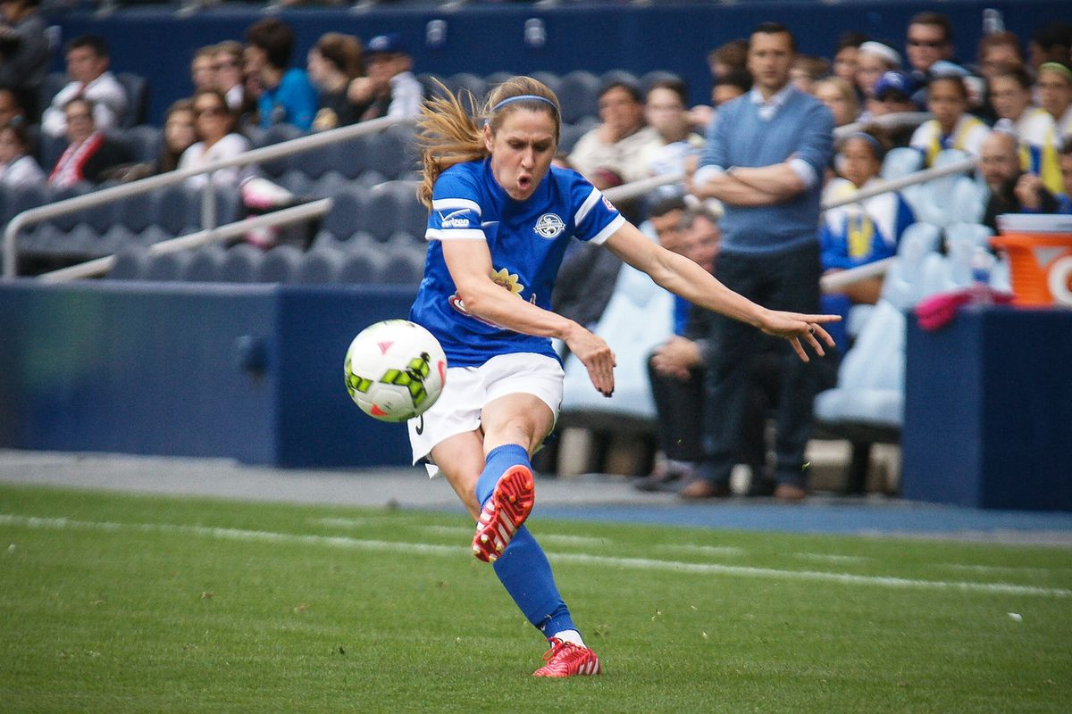 FC Kansas City's Heather O'Reilly in the Blues 2015 home opener at Sporting Park