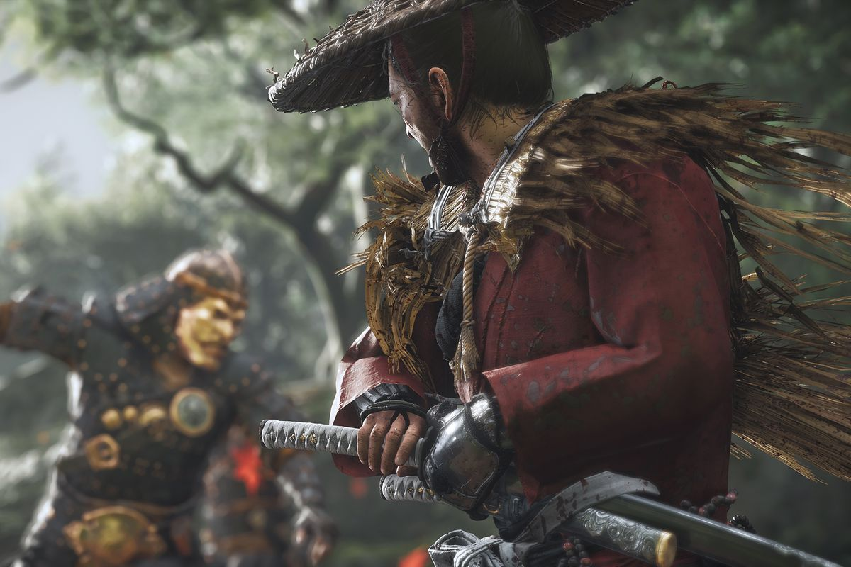 a screenshot of two samurai warriors fighting in host of Tsushima