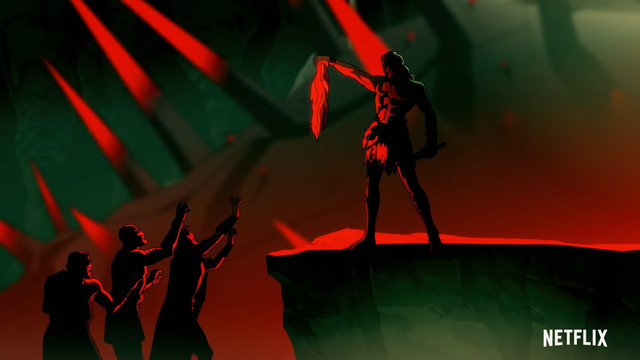 Blood of Zeus - Greek warriors lift a freshly killed demon.