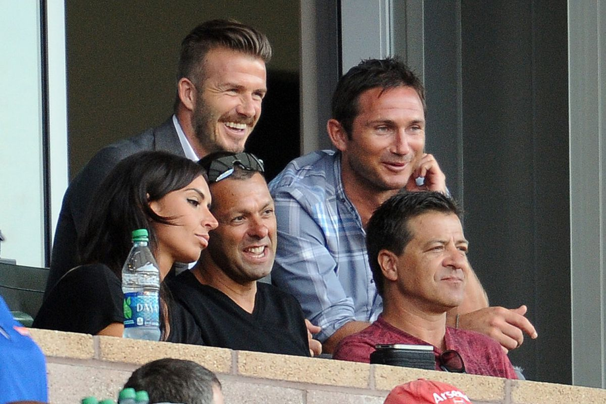 July 4, 2012; Los Angeles, CA, USA;     Los Angeles Galaxy midfielder David Beckham (23) serving a 1-game suspension watches the game against the Philadelphia Union at the Home Depot Center. Mandatory Credit: Jayne Kamin-Oncea-US PRESSWIRE