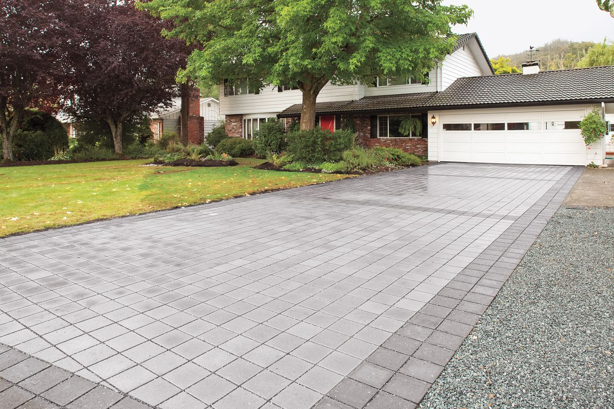 Permeable pavers used on a driveway.