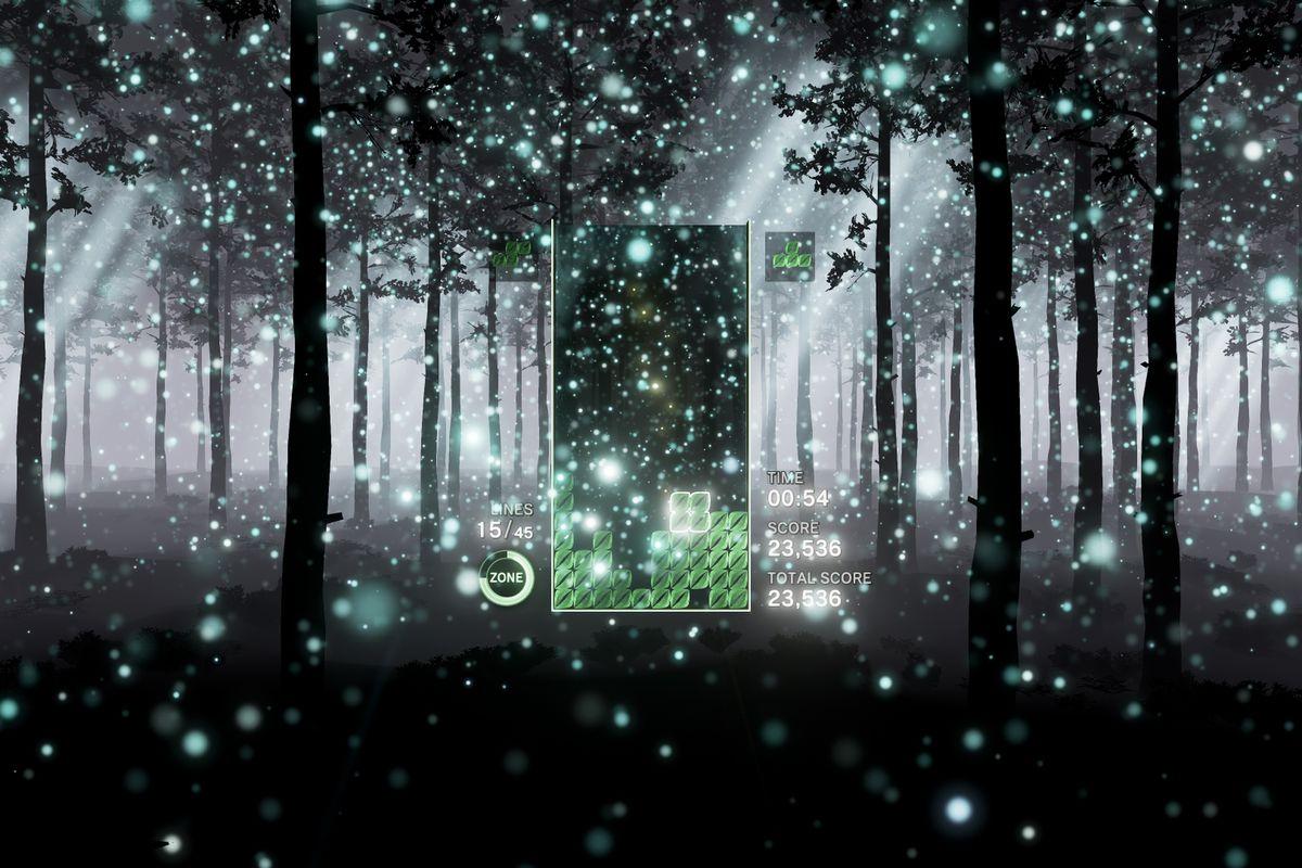 Tetris Effect - snowy forest