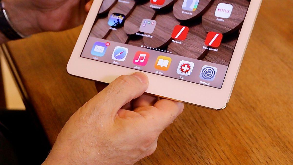 The new iPad Air 2 has the Touch ID fingerprint sensor.