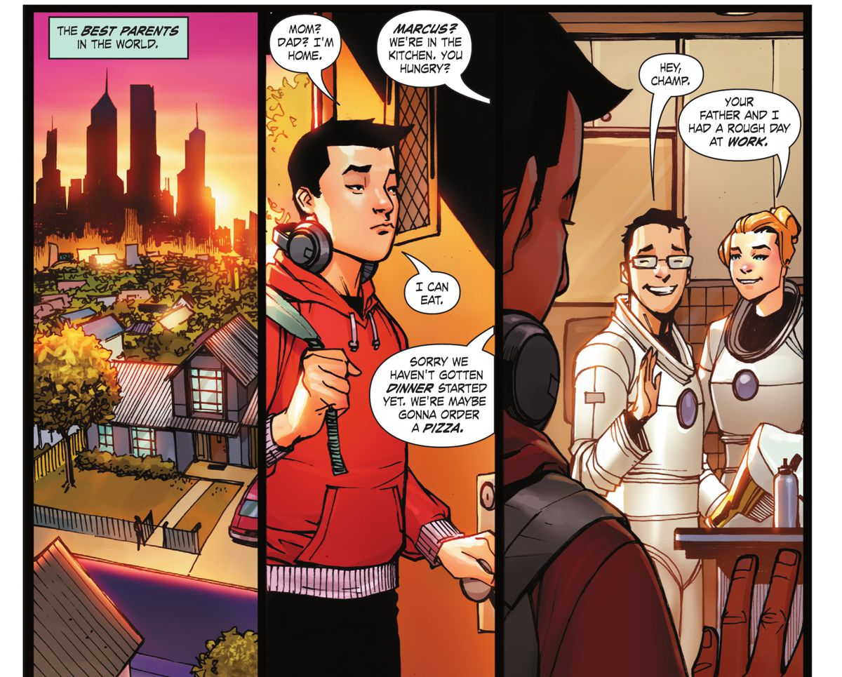 Marcus, aka the Monkey Prince, comes home to smiles from his parents, who are taking off their henchmen uniforms in DC Festival of Heroes #1, DC Comics (2021).