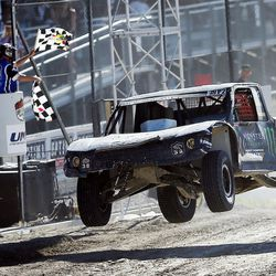 Brian Deegan in the Monster Energy 38 truck wins as racers compete in the Pro 2 division in the Lucas Off-Road races in Tooele on Saturday, June 24, 2017.