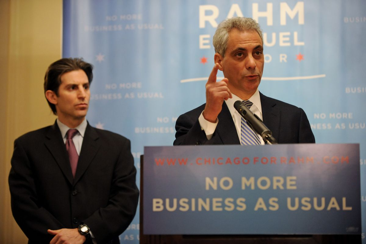 """Rahm Emanuel, then a candidate for mayor, unveiled his """"Ethics and Good Government Agenda"""" in December 2010 alongside then- Inspector General David Hoffman at the Union League Club — the same place Lori Lightfoot discussed her ethics proposals on Tuesday."""