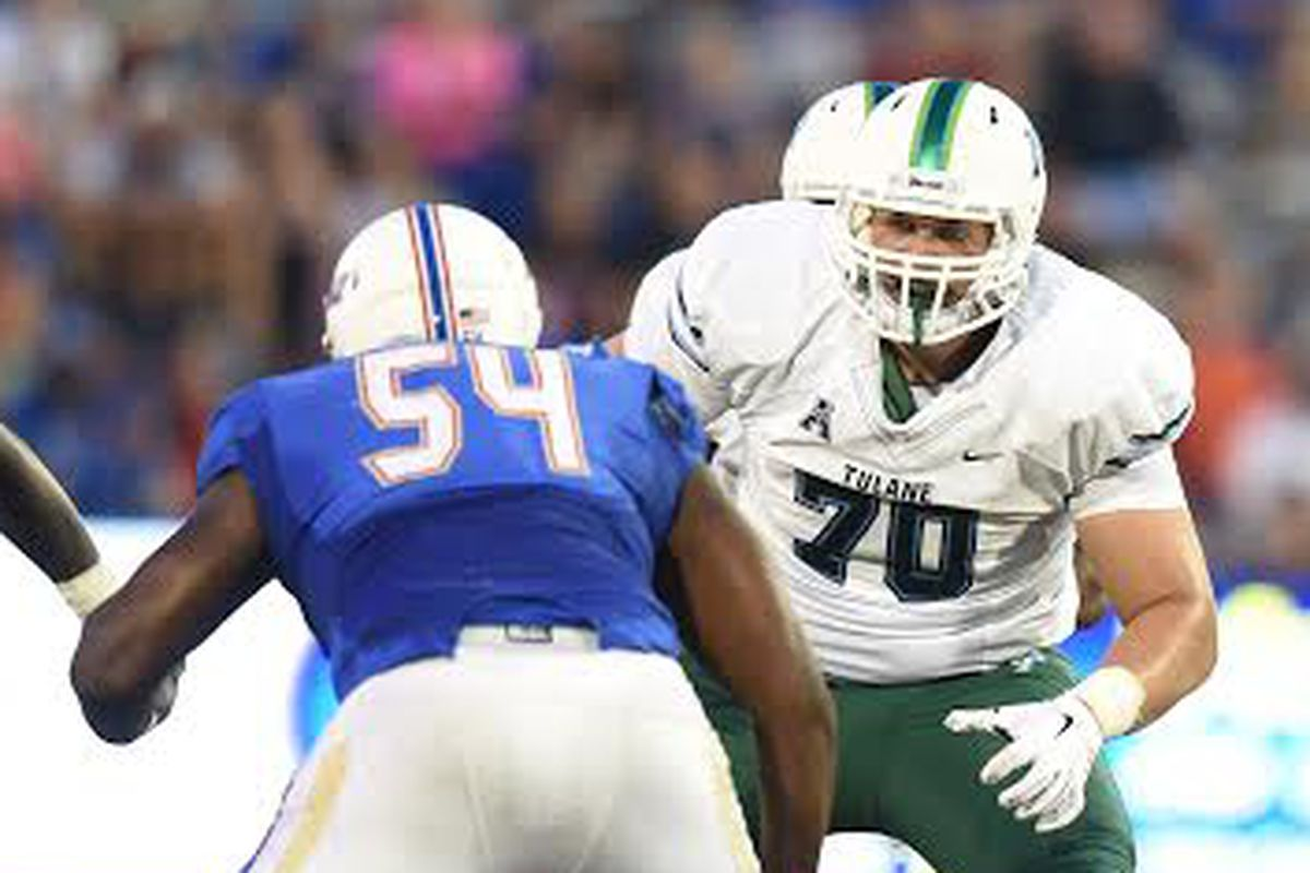 Sean Donnelly (70) blocking for Tulane