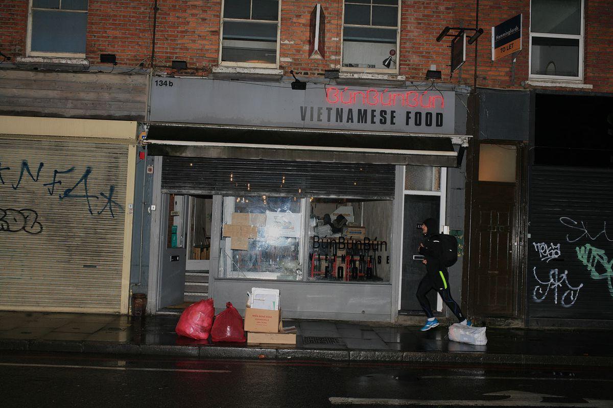 Bun Bun Bun Vietnamese restaurant on Kingsland Road closed during the coronavirus lockdown in London, England