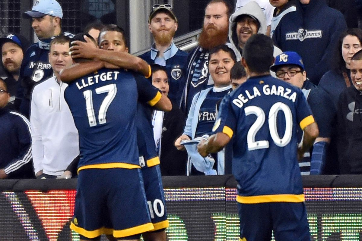 LA Galaxy players celebrate the tying goal against Sporting Kansas City