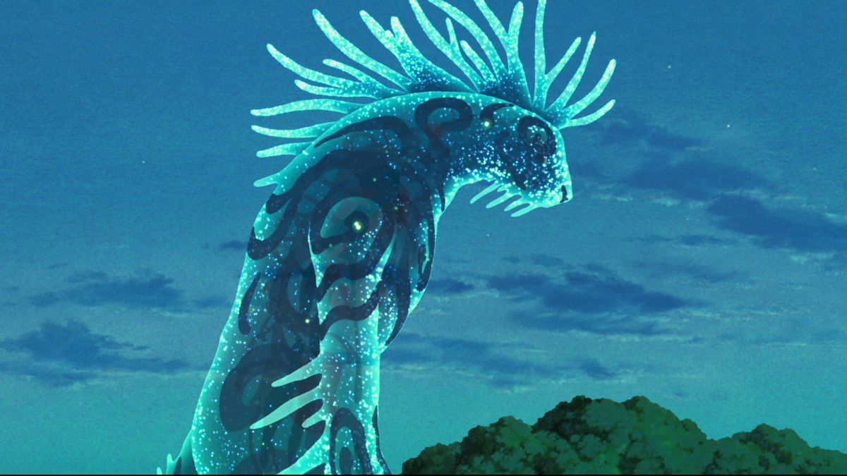 A great blue god-spirit with branching horns and rippling patterns on its skin hunches over the forest in Princess Mononoke.
