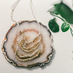 Arielle de Pinto five-tiered necklace in sterling silver and 14 karat gold vermeil, $355