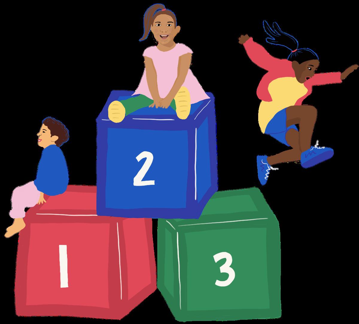 Three children climb on an oversized set of number blocks.