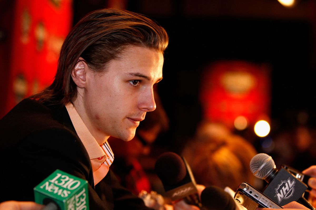 """Erik Karlsson now answers every question with, """"Do <em>you </em>have a no-trade clause?""""  (Photo by Gregory Shamus/Getty Images)"""
