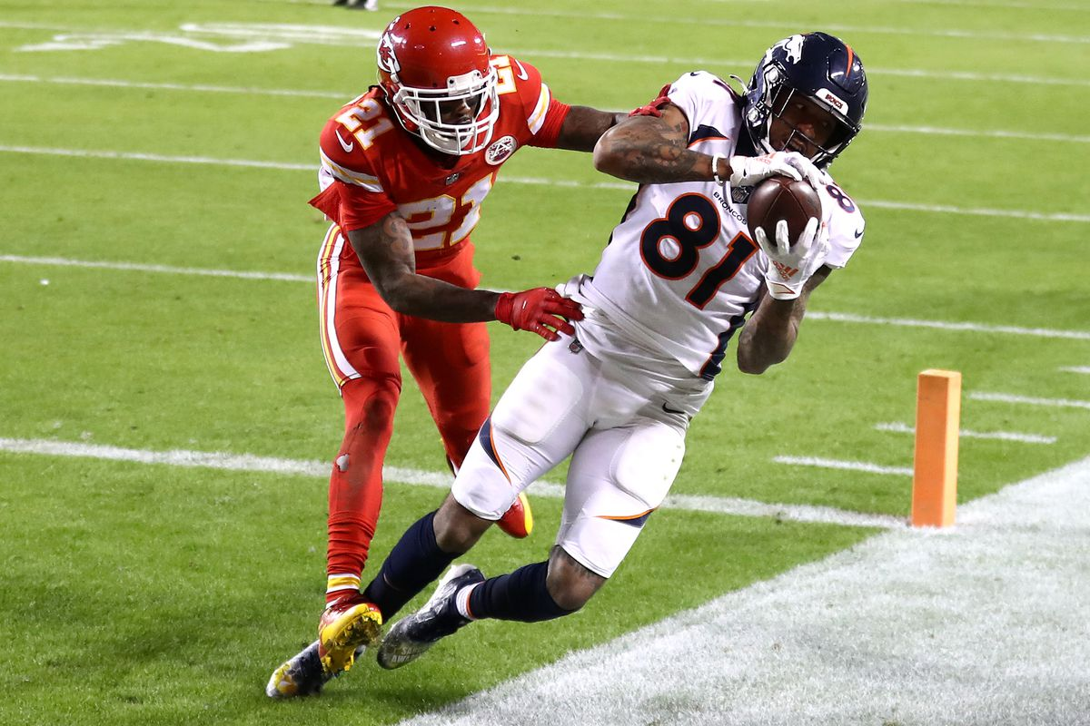 Tim Patrick #81 of the Denver Broncos makes a reception for a ten-yard touchdown ahead of defender Bashaud Breeland #21 of the Kansas City Chiefs during the third quarter of a game at Arrowhead Stadium on December 06, 2020 in Kansas City, Missouri.