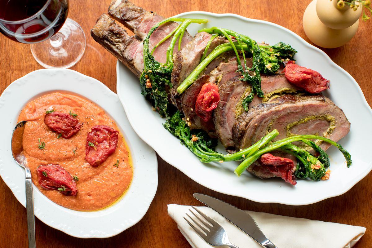 Prime rib braciole for two,polenta rossa, and broccoli rabe