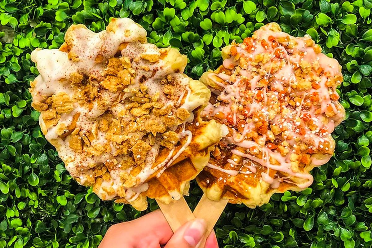 Waffles on a stick at Sweet Waffles + Boba