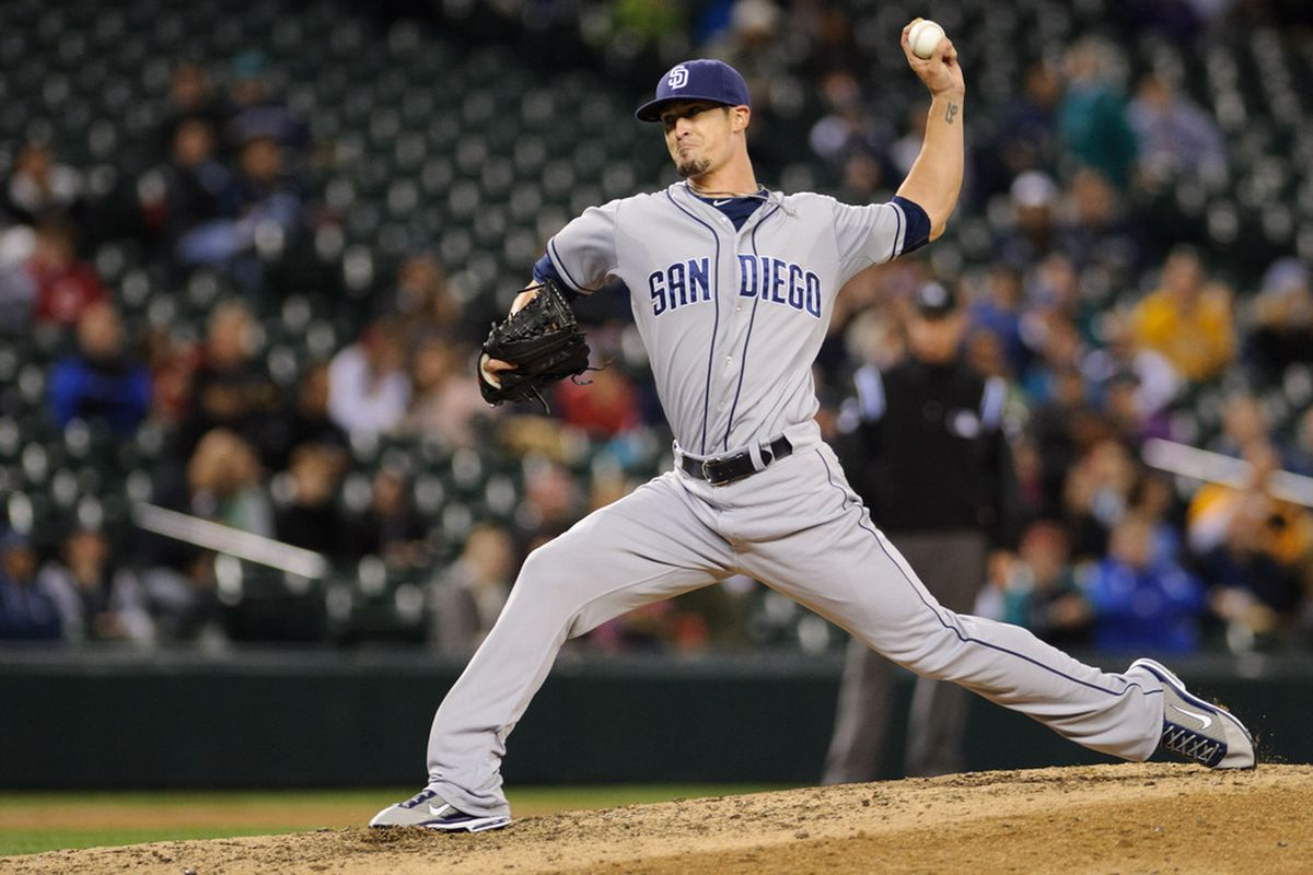 June 14, 2012; Seattle, WA, USA; San Diego Padres relief pitcher Alex Hinshaw (41) pitches to the Seattle Mariners during the 7th inning at Safeco Field. San Diego defeated Seattle 6-2. Mandatory Credit: Steven Bisig-US PRESSWIRE