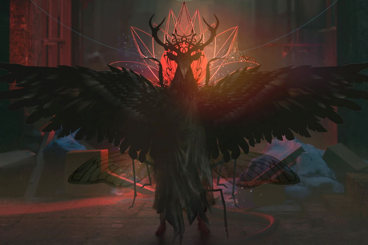 Artwork for an unannounced title from Bokeh Game Studio featuring occult symbols and a character with wings and horns