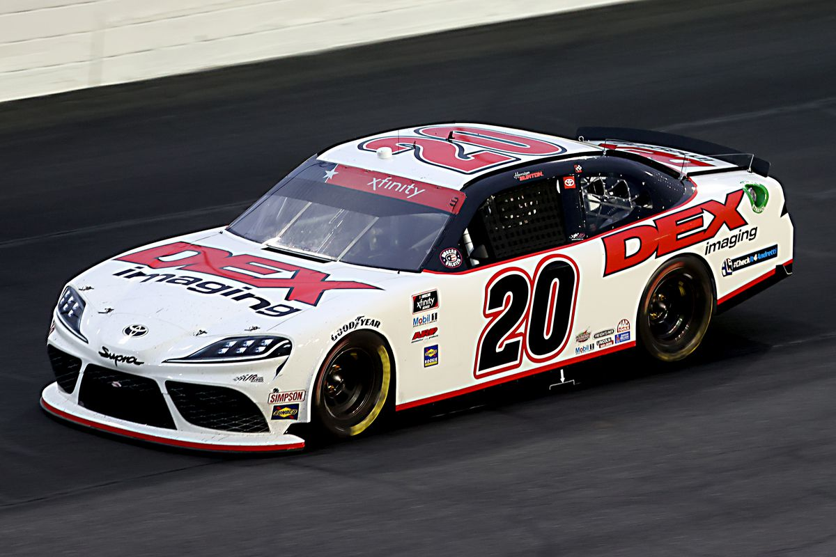 Harrison Burton, driver of the #20 Dex Imaging Toyota, drives during the NASCAR Xfinity Series Alsco 300 at Charlotte Motor Speedway on May 25, 2020 in Concord, North Carolina.