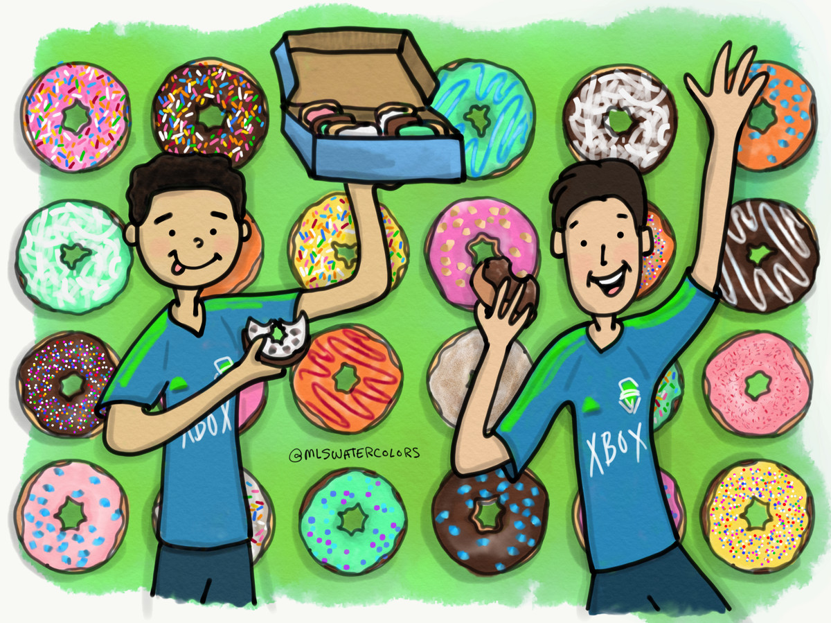 Watercolor of Cristian and Nico with delicious donuts