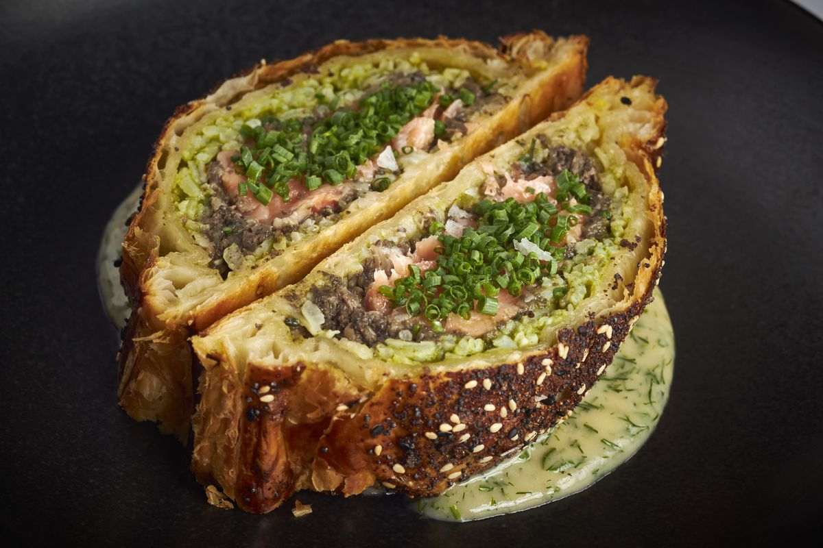 Ora King salmon coulibiac from La Bise
