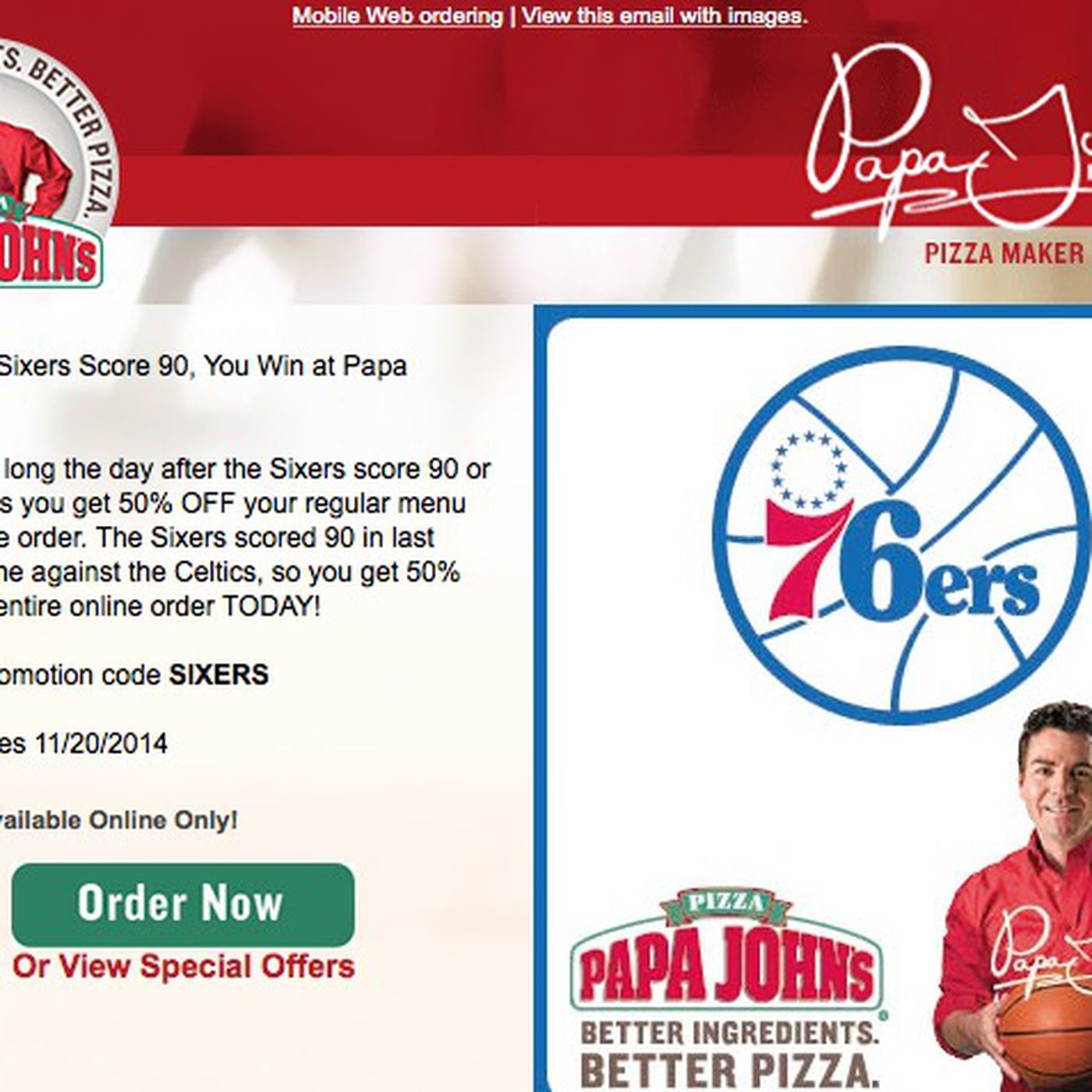 The Sixers are so bad, Papa John\'s had to change its pizza special ...