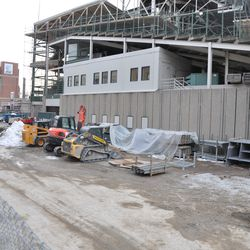 End of the right-field grandstand on Sheffield -