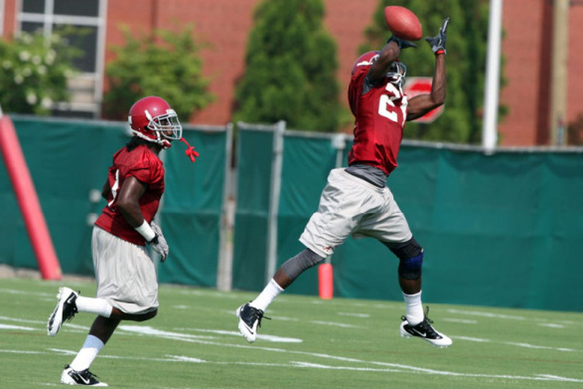 """Coach Saban has made sure Dre Kirkpatrick and the young Crimson Tide secondary have a lot of advantages going into 2010. Photo <a href=""""http://www.rolltide.com/view.gal?id=74400"""" target=""""new"""">Alex Gilbert</a>"""
